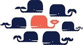 Whale,Cute,Cartoon,Group Of Animals,Set,Mustache,Human Lips,Characters,Ilustration,Animal Themes,Animal,Mammal,Sea,Design,Love,Two Parents
