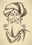 Indian Culture,Men,Turban,Human Face,Senior Adult,Asian and Indian Ethnicities,Portrait,Ilustration,Religion,One Person,Buddhism,Human Head,Cultures,Monk - Religious Occupation,Sikhism,Vector,Spirituality,Hinduism,Ethnic,Guru,Characters