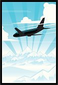 Airplane,Mountain,Snow,Cloud - Sky,Sky,Travel,Side View,Flying,Blue,Day,Speed,Copy Space,Mid-Air,No People,Vector,Ilustration,Outdoors,Transportation,Winter,Nature,Sunlight,White