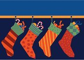 Christmas Stocking,Christmas,Candy,Gift,Bow,Package,Orange Color,Holidays And Celebrations,Families,Christmas,Lifestyle,Holiday,Ribbon,Decoration,Illustrations And Vector Art