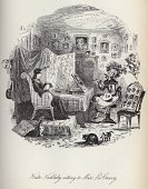 Charles Dickens,Engraving,Ilustration,Book,Painting,Old-fashioned,Named Book,Sitting,People,Antique,Image Created 1840-1849,Engraved Image,Fine Art Portrait,Historical Document