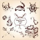 Pirate,Retro Revival,Old-fashioned,Design Element,Human Skull,Drawing - Activity,Treasure Chest,Gun,Currency,Sign,Driving,Sailing,Hat,Rum,Insignia,Technology,Scrapbook,Web Page,Nautical Vessel,Obsolete,Chest,Concepts,Icon Set,Vector,Rope,Isolated,Sword,Hook,Ilustration,Bandana,Bottle,Danger,Saber,Symbol,Internet,Design,Coin,Black Color,Wheel,Ornate,Set,Old,Adventure,Sea,Sketch,Collection