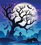 Shadow,Glowing,Light - Natural Phenomenon,Moonlight,Sky,Moon,Spooky,Tombstone,Art,Eps10,Ilustration,Silhouette,Bat - Animal,Night,Holiday,Wing,Branch,Mystery,Drawing - Art Product,Design,Halloween,Tree,October,Season,Autumn,Animal,Domestic Cat,Vector