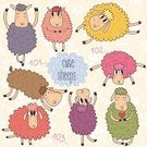Fun,Doodle,Gift,Greeting,Vector,Ilustration,Ornate,Decoration,Cute,Single Object,Animal,Backgrounds,Cheerful,Sheep
