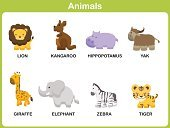 Animal,Tropical Rainforest,Preschool,Collection,Kangaroo,Farm,Yak,Zebra,Elephant,Education,Hippopotamus,Single Word,Zoo,Vector,Giraffe,Cute,Backgrounds,Student,Ilustration,Learning