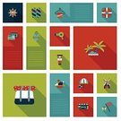 Sign,Airplane,Suitcase,Ilustration,Holiday,Luggage,Ticket,Beach,Passport,Abstract,Shadow,Backgrounds,Bag,Set,Tourism,Vacations,Map,Journey,Concepts,Exploration,UI,Flat,Travel,Design,Symbol,Vector,Summer,Icon Set