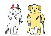 White Background,Bandage,Domestic Cat,Physical Injury,Rolled Up,Wrapping,Animal Head,Front View,hand drawn,Paw,Accident,Cast,Black Color,Calico,Veterinary Medicine,Fracture,Drawing - Art Product,Plaster,Crutch,Tail,Pain,Wound,Brown,White,Cute,Animal Hospital,Dog,Pets,Net - Sports Equipment,Healthy Lifestyle,Vector,Ilustration,Animal,Full Length