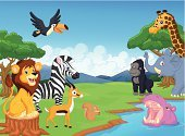 Animal,Tropical Rainforest,Cartoon,Lion - Feline,Gorilla,Forest,Safari Animals,Cute,Antelope,Characters,Squirrel,Elephant,Animals In The Wild,Plant,Playing,Group Of Animals,Woodland,Ilustration,Baboon,Giraffe,Smiling,Africa,Toucan,Mascot,Happiness,Playful,Zebra,Savannah,Cheerful,Rhinoceros,Bird,Fun,Green Color,Mammal,Vector,Tree