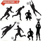 Goalie,Sport,Competition,Isolated,Vector,Black Color,Sports Team,Championship,Collection,White,Success,Winning,Silhouette,Set,Trophy,Soccer,Football,Men,Ball,Soccer Ball,Running