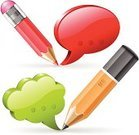 Red,Computer Icon,Discussion,Ideas,Communication,Isolated,White,Education,Speech Bubble,Pencil,Vector,Eraser,Social Networking