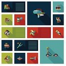 Squirt Gun,Roller Skate,Robot,Car,Kebab,Education,Trumpet,Brick,Earth Mover,Learning,Slingshot,Happiness,UI,Ilustration,Vector,Toy,Leisure Games,Child,Fun,Backgrounds