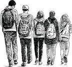 School Children,Teenager,Walking,Sketch,Little Boys,Student,Rear View,Togetherness,Adolescence,Lifestyles,Drawing - Art Product,Five People,Backpack,Child,Friendship,Teenage Girls,Outdoors,Modern