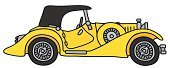 Vintage Car,Yellow,Old,Veteran,Black Color,Spinning Top,hand drawing,Vector,Top - Garment,Motorsport,Sport,Car,Convertible,Cartoon,Land Vehicle,Roadster,Old-fashioned,Classic,Engine