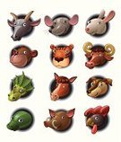 Chinese Zodiac Sign,Animal Head,Mouse,Cheerful,Sheep,Goat,Dog,Cartoon,Ideas,Concepts,Chinese New Year,Ox,chinese tradition,Symbol,Dragon,Cockerel,Cow,Ilustration,Horse,Fortune Telling,Astrology Sign,Rooster,Smiling,Vector,Undomesticated Cat,Snake,Monkey,Humor,Tiger,Wild Boar,Domestic Cat,Pig,Rabbit - Animal,Rat,Cute