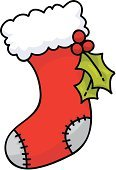 Christmas Stocking,Christmas,Stockings,Cartoon,Sock,Holly,Vector,Single Object