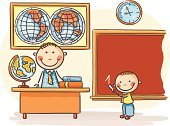 Child's Drawing,Ilustration,Cute,Vector,Indoors,Small,Classroom,Map,Cartoon,Drawing - Art Product,Happiness,School Children,Physical Geography,Standing,Education,School Building,Globe - Man Made Object,Studying,Cheerful,Sketch,Child,Little Boys,Learning,Desk,Teacher,Blackboard,Schoolboy