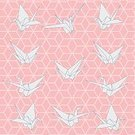 Origami Crane,Origami,Ilustration,Isolated,Symbol,Bird,Gray,Paper,Blue,Sketch,Peace Sign,Design Element,Wallpaper Pattern,Creativity,White,Japanese Culture,Asia,Swan,Decoration,Bamboo Shoot,Pastel Colored,Computer Graphic,Art,Vector,Backgrounds,Seamless,Pattern,Pink Color,Japan
