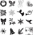 Christmas,Angel,Holly,Wreath,Poinsettia,Symbol,Bow,Dove - Bird,Holiday,Snowflake,Bell,Snowman,Computer Icon,Bow,Leaf,Icon Set,Clip Art,French Horn,Evergreen Tree,Brass Instrument,Isolated