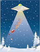UFO,Alien,Santa Claus,Reindeer,Spaceship,Flying,Christmas,Space Travel Vehicle,Ilustration,Snow,Kidnapping,Blizzard,Lighting Equipment,Projection,Night,Light - Natural Phenomenon,Vector,Winter,Christmas,Holidays And Celebrations,Vector Cartoons,Snowflake,Kidnapper,Gift,Illustrations And Vector Art,Nature