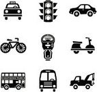Taxi,Stoplight,Religious Icon,Traffic,Symbol,Parking,Car,Bicycle,Vespa,Bus,Towing,Double-Decker Bus,Parking Meter,Tow Truck,Truck,Vector,Lighting Equipment,Transportation,Moped,Icon Set,Travel,Mode of Transport,Ilustration,Illustrations And Vector Art,Transportation,Travel Locations