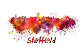 Sheffield - England,UK,Urban Skyline,Ilustration,Grunge,Europe,Famous Place,Panoramic,Watercolor Painting,Splattered,Multi Colored,Monument,Clipping Path,Abstract,Spray,Textured Effect,Architecture,Painted Image,Cityscape,Vibrant Color,Color Image