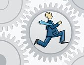 Gear,Running,White Collar Worker,Business,Men,Office Worker,Machine Part,Businessman,Suit,Young Men,Mid Adult Men,Full Suit,Business People,Tie,big corporation,Illustrations And Vector Art,Business,Corporate Concept,Business Concepts