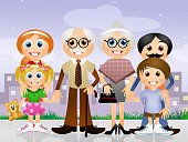 Family,Grandparent,Senior Adult,Child,Joy,Happiness,Creativity,Father,Holiday,Ilustration,Baby,Aging Process,Grandparents Day,Grandfather,Grandmother,Human Pregnancy,Mother