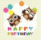 Vector,Owl,Holiday,Decoration,Ilustration,Backgrounds,Balloon,Birthday
