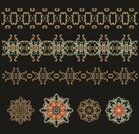 Retro Revival,Isolated,Gold Colored,Old-fashioned,Arabic Style,Lace - Textile,Ribbon,Snowflake,Mandala,Set,Lace,Vignette,Award Ribbon