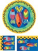 Caribbean Culture,Caribbean,Fish,Tropical Climate,Caribbean Sea,Pattern,Frame,Plate,Ornate,Water,Circle,Swirl,Vector,Design,Striped,guppy,Multi Colored,Sea Bass,Striped Bass,Swimming Animal,Sea,Leaving,right,Left Handed