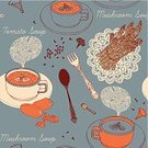 Soup,Bowl,Symbol,Restaurant,Cooking,Tablecloth,Multi Colored,Text Messaging,Chef,Breakfast,Work Tool,Clover,Old-fashioned,Mushroom,Domestic Kitchen,Home Interior,Pepper,Plate,Backgrounds,Print,Steam,Ilustration,Design,Decor,Food,Design Professional,Pattern,Green Color,Fork,Tomato,Spoon,Orange Color,Leaf,Abstract,Pepper - Vegetable,Porcelain,Vector,Retro Revival,Asparagus