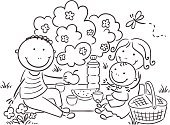 Picnic,Family,Coloring Book,Child,Eating,Nature,Black And White,Ilustration,Little Boys,Domestic Life,Cute,Non-Urban Scene,Line Art,Summer,Picnic Basket,Meal,Mother,Parent,Childhood,Food,Vector,Outline,Father,Preschooler,Outdoors,Family with One Child,active lifestyle,Vacations