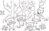 Animal,Childhood,Ilustration,Vector,Enjoyment,Youth Culture,Storytelling,Outline,Black And White,Summer,Outdoors,Fun,unconcern,Pig,Child's Drawing,Forest,Coloring Book,Small,The Three Little Pigs,Careless,Hiding,Fairy Tale,Wolf,Line Art