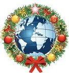 Christmas,Globe - Man Made Object,Earth,Decoration,Christmas Ornament,Holiday,Bow,Christmas Decoration,Backgrounds,Sphere,Garland,Ribbon,Celebration,Symbol,Red,Vector,Ilustration,Romance,Bright,Knick Knack,Concepts And Ideas,Concepts,Ideas,Christmas,Single Object,New Year's,Flame,Color Image,Holidays And Celebrations