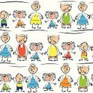 Multi-generation Family,Family,Little Boys,Little Girls,Cute,Brother,Happiness,Smiling,Symbol,Group Of People,Backgrounds,Pattern,Grandchild,Child,Fun,Baby,Friendship,Painted Image,Ilustration,Design Element,Sister,Color Image,White,Drawing - Activity,Characters,Granddaughter,Grandson,Cartoon,Grandfather,Vector,Grandmother,Seamless,People