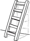 Ladder,Drawing - Activity,Drawing - Art Product,Cartoon,Ilustration,Isolated,Sketch,Black And White,Art,Work Tool,Reaching,Construction Industry,Equipment,Vector,Clambering,Black Color,freehand,High Up,Repairing,Wall,Flooring,Shadow,Moving Up,Tall,Staircase,White,Wood - Material,Single Object,Step Ladder,White Background