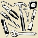 Hammer,Work Tool,Nail,Tape Measure,Wrench,Chisel,Equipment,Construction Industry,Utility Knife,Screwdriver,Sign,Ilustration,Pliers,Art,Objects/Equipment,Illustrations And Vector Art