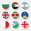 National Flag,Flat,Flag,Globe - Man Made Object,Circle,UK,Authority,Symbol,Button,Computer Icon,Europe,Famous Place,Collection,Isolated,Sign,Argentina,Round Shape,nation,Design Element,Election,Simplicity,Sovereign State,Bulgaria,St. Lucia,Sudan,Insignia,Suriname,Malta,Cross Shape,Government,Travel,Djibouti,National Landmark,vector illustration,Patriotism,Ethnicity,Independence,Country - Geographic Area,European Union