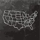 Map,USA,Blackboard,Blank,Ilustration,Sketch,International Border,Pencil Drawing,Separation,provinces,Single Line,Black Background,Black Color,Dark,US State Border,Scribble,Drawing - Art Product,Textured,Land,Outline,Country - Geographic Area,Scratched,Distressed,White,Physical Geography,Copy Space,Retro Revival,Textured Effect,Vector,Damaged