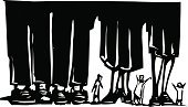 Woodcut,Abandoned,Giant,Ignoring,Human Foot,Business,Mobility,Elegance,Beckoning,Large,Industry,Investment,Stock Market,Style,Fashion,Small,Shoe,Confusion,Responsibility,Trust,Human Leg