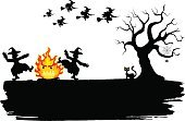 Witch,Dancing,Holiday,Spooky,Horror,Black Color,Backgrounds,Glowing,Mystery,Celebration,Flying,Dark,Fire - Natural Phenomenon,Halloween,Autumn,Cartoon,Season,Silhouette,Ilustration,Blank,Copy Space,Vector,Tree