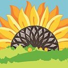 Sunflower,Summer,Seed,Tree,Vector,Yellow,Village,Red,Nature,Forest,Plant,Backgrounds,Hill,Ilustration,Meadow,Leaf,Autumn