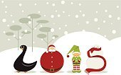 2015,New Year's Eve,Christmas,Santa Claus,Elf,Snowman,Snow,Cartoon,Horizontal,Design,Vector,Simplicity,Number 2,Number 5,Number 1,Zero,Winter,Number