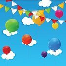 Balloon,Group of Objects,Vector,Colors,No People,Day,Holiday,Ilustration,Celebration,Vibrant Color,Bright,Moving Up