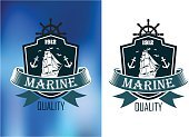 Sailing Ship,Insignia,Sea,Lighthouse,Anchor,Old-fashioned,Banner,Design Element,Symbol,Retro Revival,Adventure,Design,Ilustration,Sail,White,Travel,Navy Blue,Ribbon,Blue,Sign,Cultures,Obsolete,Style,Ship,Computer Graphic,Sailor,Backgrounds,Navy,Badge,Antique,Nautical Vessel,Vector,Turquoise,Decoration,Black Color,Isolated,Silhouette,Classic,Sailing