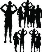 Silhouette,Back Lit,Little Boys,Family,Small,Mother,Child,Offspring,Multi-generation Family,Grandchild,Grandparent,Two Generation Family,Large Family,Women,Men,Number of People,Parent,People,Walking,Wife,Outline,Love,Togetherness,Grandmother,Ilustration,Grandfather,Fun,Human Pregnancy,Father,Son