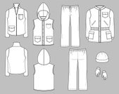 Uniform,Jacket,fashion flats,Clothing,Parka - Coat,Fashion,Pants,Ski Vest,Beanie Hat,Sketch,Cap,Warm Clothing,Coat,Ilustration,Drawing - Art Product,clothing templates,Glove,technical drawings,Plan,Hat,Textile Industry,Fashion Industry,Pencil Drawing,Headwear,line sheets,Industry,Retail/Service Industry,Vector Icons,Isolated Objects,Illustrations And Vector Art,Service Uniforms