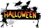 Halloween,Text,Cartoon,Human Hand,Silhouette,Spooky,Horror,Mystery,Celebration,Evil,Holiday,Ilustration,Spider Web,Spider,Night,Banner,Black Color,Vector,Backgrounds,Dark