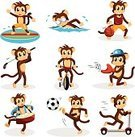 Ape,Monkey,Sport,Drum,Ilustration,Drawing - Art Product,Cartoon,Activity,Vector,Clip Art,Baseball - Sport,Isolated,Cute,Soccer,Drummer,Biker,Ball,Cycling,Push Scooter,Swimming Animal,Swimming,Surfing,Animal,Happiness,Action,Basketball,Basketball - Sport,Soccer Ball,White Background,Baseballs,Cyclist,Golf,Cheerful