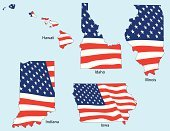 Indiana,Illinois,Iowa,Flag,Hawaii Islands,American Flag,Idaho,Vector,Fourth of July,Outline,Freedom,USA,state,Independence,Election,National Landmark,nation,Illustrations And Vector Art,Vector Icons,Vector Ornaments,Striped,Blue,Ilustration,Patriotism,Star Shape,White,Red